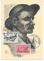 Litho D'un Mineur Signée Anzin 1937 (timbre 1er Jour) - Belgium
