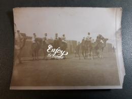 PHOTO MILITAIRE    AUX COLLONIES  SUR CHAMEAU PHOTO VERS 1900 - Kasernen