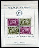 ALBANIA 1938 Royal Wedding Block  MNH / **.  Michel Block 2 - Albania