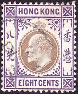 HONG KONG 1903 KEDVII 8c Slake & Purple SG66 FU - Hong Kong (...-1997)