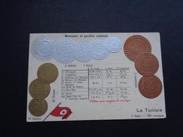 Carte ( 1156 ) Fantantaisie  Fantasie - Thème : Monnaie - Carte Gaufrée   Thema : Munten  Munt  - Reliëf - Tunisie - Coins (pictures)