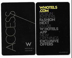 W Hotels, Worldwide, Used Contactless Hotel Room Key Card #  W-7 - Hotelkarten