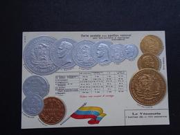 Carte ( 1157 ) Fantantaisie  Fantasie - Thème : Monnaie - Carte Gaufrée   Thema : Munten  Munt  - Reliëf - Vénézuéla - Coins (pictures)