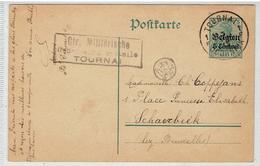 5 PFENNIG - Deutsche Reichpost - 5 Centiem Belgien - Poste Militaire Tournai 2-8-1915 - Censuré - Covers & Documents