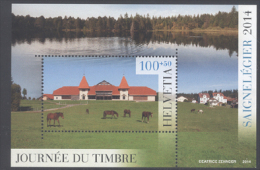 SWITZERLAND , 2014, MNH, LAKES, HORSES, COUNTRYSIDE, STAMP DAY, S/SHEET - Chevaux