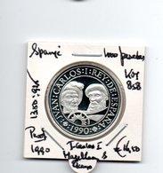 SPANJE 1000 PESETAS 1990 ZILVER PROOF MAGELLAAN - [ 5] 1949-… : Koninkrijk