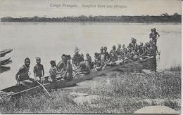 Auguste Béchaud - Congo Français - Sanghos Dans Une Pirogue - - Congo Français - Autres