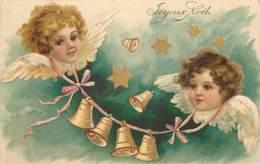 ANGELOTS  - Joyeux Noël, Portraits, Cloches. (carte Gaufrée) - Engelen