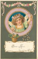 ANGELOT  - Bonne Année,portrait.(carte Gaufrée) - Engelen