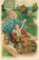 ANGELOT  - En Voiture ,fleurs (carte Gaufrée) - Engelen