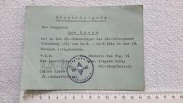 Bescheinigung Sommerlager Karte Jungmädel HJ Undeloh Oldenburg BDM 1940 - 1939-45