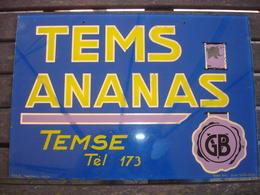 TRES RARE !! ZELDZAAM !! -TEMSE TAMISE - PLAQUE PUB VERRE EGLOMISE - LIMONADE TEMS ANANAS - 1952 - Advertising (Porcelain) Signs