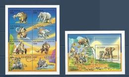 Guyane Guyana 1992 Yvert Bloc 102 ** + 2762/2769 ** Elephants - Guiana (1966-...)
