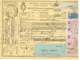 8 X 3 + 23 X 4 + 21 Italie Bulletin De Colis Postal Italie Du 24-10-1926  Avec  N° 8 X 3 + 23 X 4 + 21 - Italy