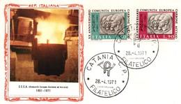 UE109 Lettre FDC Du 28.4.71 De Catania Des Timbres Italiens Pour Le 20ème Anniversaire De La CECA. TTB - Europese Gedachte