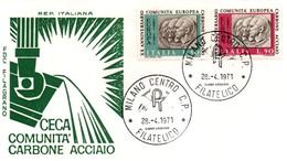 UE110 Lettre FDC Du 28.4.71 De Milano Centro Des Timbres Italiens Pour Le 20ème Anniversaire De La CECA. TTB - Europese Gedachte