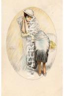 LADY POSING OLD GLAMOUR ART COLOUR POSTCARD USED FRANCE 1917 ARTIST SIGNED? - Other Illustrators