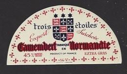 Etiquette  Fromage Camembert -  Trois Etoiles - Fabriqué En Normandie - Fromage