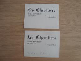 LOT DE 2 CARTES DE VISITES ANDRE TOUZEAU LES CHEVALIERS ANTIQUITES MONTARGIS - Visiting Cards
