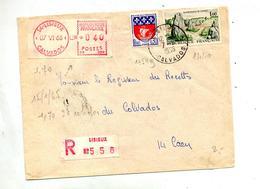 Lettre Recommandée Lisieux Sur Carnac Paris Vignette - Marcophilie (Lettres)