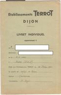Livret Individuel Salarié Des Ets TERROT Dijon - 1950 - Organisation - Règlement Intérieur - Vieux Papiers