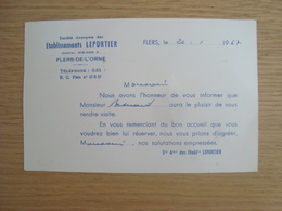 CARTE DE VISITE ETABLISSEMENTS LEPORTIER FLERS-DE-L'ORNE - Visiting Cards