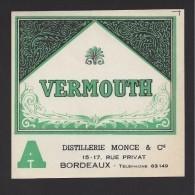 Etiquette De  Vermouth    -   Distillerie  Monce Et Cie  Bordeaux  (33) - Etichette
