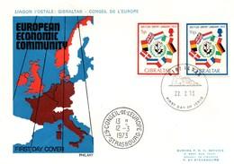UE127 FDC De Gibraltar Pour L'entrée De La Grande Bretagne Dans La CEE En 1973 - Liaison Avec Le Conseil De L'Europe. TB - Europese Gedachte