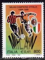 ITALIA REPUBBLICA ITALY REPUBLIC 1999 LO SCUDETTO AL MILAN CAMPIONE CAMPIONATO DI CALCIO 1998 LIRE 800 € 0,41 MNH - 6. 1946-.. Repubblica