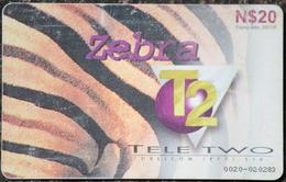 Seltene, Gebrauchte Tele 2 Telefonkarte Aus Namibia, Motiv Zebra 20 Namibia Dollar Chip Gem 5 Black - Namibie