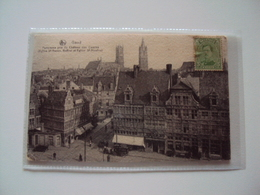 CPA   Gand  (1919) Panorama Pris De Château Des Comtes  Animée (St Veerleplein + Paardenkoetsen, Oude Wagen...) - Gent