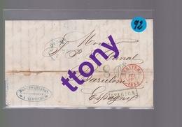 Une Lettre Enveloppe Ets : A Vervier Cachet Belgique  Pour  Barcelone  Espagne  1856  ( Usure Voir Scann ) - Marcofilia (sobres)