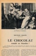 1954 : Document, LE CHOCOLAT, Déjeuner, Chocolatière, Cheminée, Fabrication Du Chocolat Au XVII° Siècle - Collections