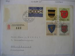 Liechtenstein- Recobelege Wappen  Mi.Nr. 450-453+454 - Briefe U. Dokumente
