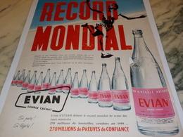 ANCIENNE PUBLICITE RECORD MONDIAL  LA SOURCE CACHAT EVIAN 1960 - Reklame