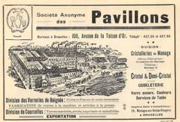 1928 - BRUXELLES - Avenue De La Toison D'Or - Verreries Et Cristal S.A. Des Pavillons - Dim. 1/2 A4 - Publicités