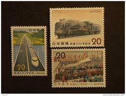 Japan Japon Nippon 1972 Centenaire Des Chemin De Fer Japonais Train Locomotive Trein Locomotief Yv 1043-1045 MNH ** - 1926-89 Emperador Hirohito (Era Showa)