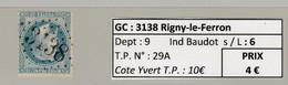 GC 3138 Rigny-le-Ferron ( Dept 9 ) S / N° 29A - Marcophilie (Timbres Détachés)