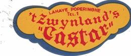 "Bieretiket -  Lahaye Poperinghe - 'tZwijnland's ""Castar ""  Tel  Nr 1 Poperinge - Beer"