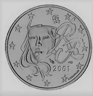 MONNAIE 2 Cent 2001 France   Euro Fautée Non Cuivrée Etat Superbe - Variétés Et Curiosités
