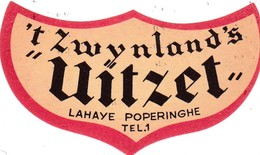 """Bieretiket -  Lahaye Poperinghe -  Tel  Nr 1 """" Uitzet """" - - Beer"""