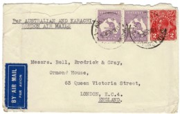 Australia 1933 Kangaroo 9d Cof A Pair + 2d KGV Air Mail To UK Via Karachi - 1913-48 Kangaroos