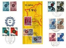 """UE145 Lettre Grand Format De 1967 Pour Les 10 Ans De La C.E.E. Avec Tous Les Timbres """"Europa"""" Des 6 Pays Membres. TTB - Europese Gedachte"""