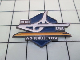1120 Pin's Pins / Beau Et Rare / THEME : TGV / MELUN SENS AUTOROUTE A5 JUMELEE TGV - TGV