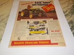 ANCIENNE  PUBLICITE SUPER 202 DE LA SOCIETE FRANCAISE VIERZON - Tracteurs
