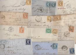 Très Intéressant Lot De + De 60 Lettres Classiques De France: Empire, Ceres, Quelques Couleurs Et Paires - 1849-1876: Période Classique