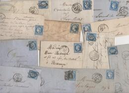 Très Intéressant Lot De + De 60 Lettres Avec Des Bleu De France: Empire, Ceres, Pour étude: Variétés Et Oblitérations - 1849-1876: Période Classique