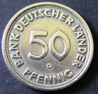 """Germany - 1949 - 50 Pfennig - Bank Deutscher Länder - Mintmark """"G"""" - Karlsruhe - KM 104 - VF - Look Scans - [ 7] 1949-…: BRD"""