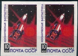 B7479 Russia USSR Space Sci-fi Art Painting Pair Colour Proof - Otros