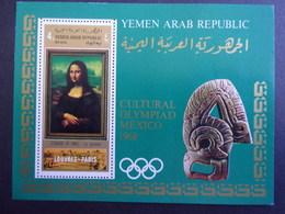 YEMEN JEMEN YAR MI-NR BLOC 92 MNH/NEUF** OLYMPIC MEXICO 1968 MONA LISA - Yemen